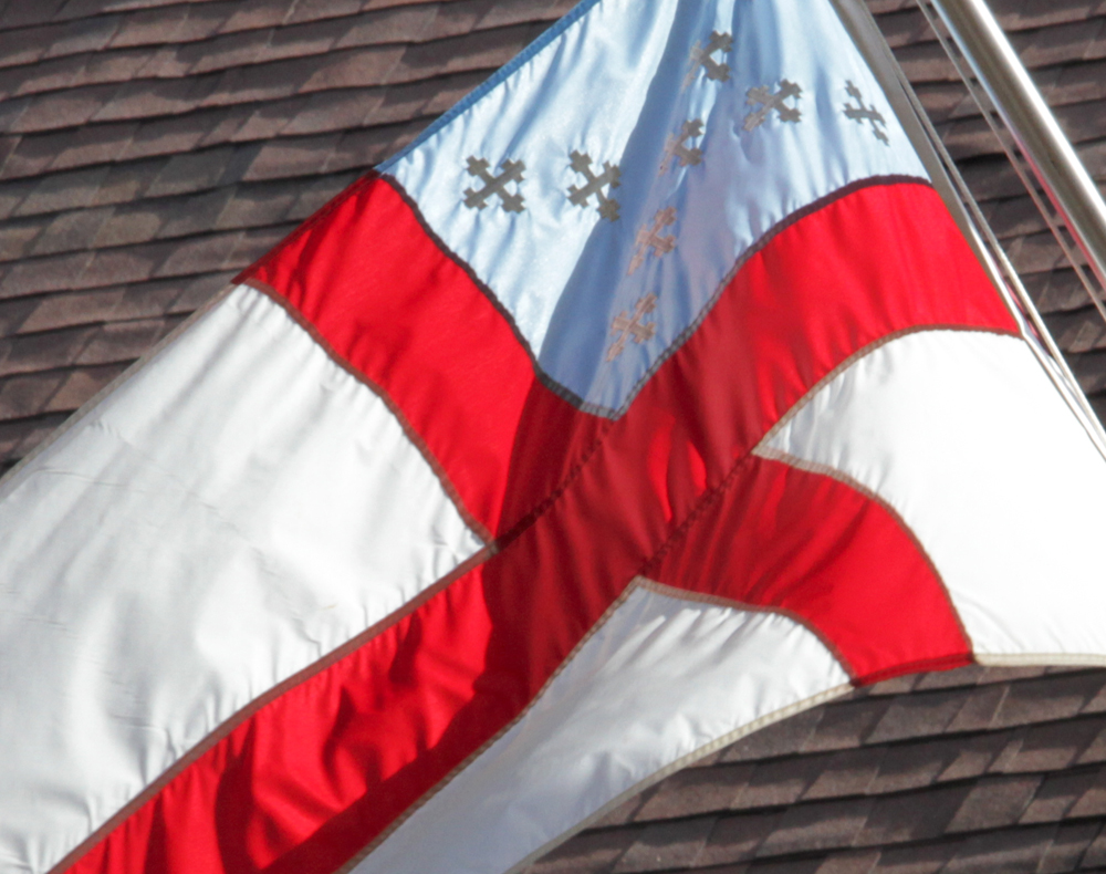 Flag of the Episcopal Church flies at St. John the Divine in Burlington Wisconsin